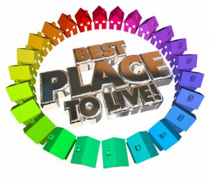Best Place to Live Homes Houses Neighborhood Community 3d Words