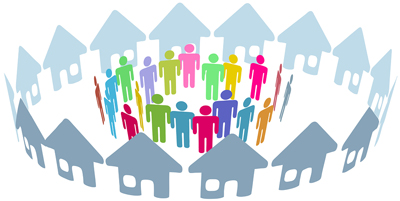 Neighborhood home people social network meet inside a circle of